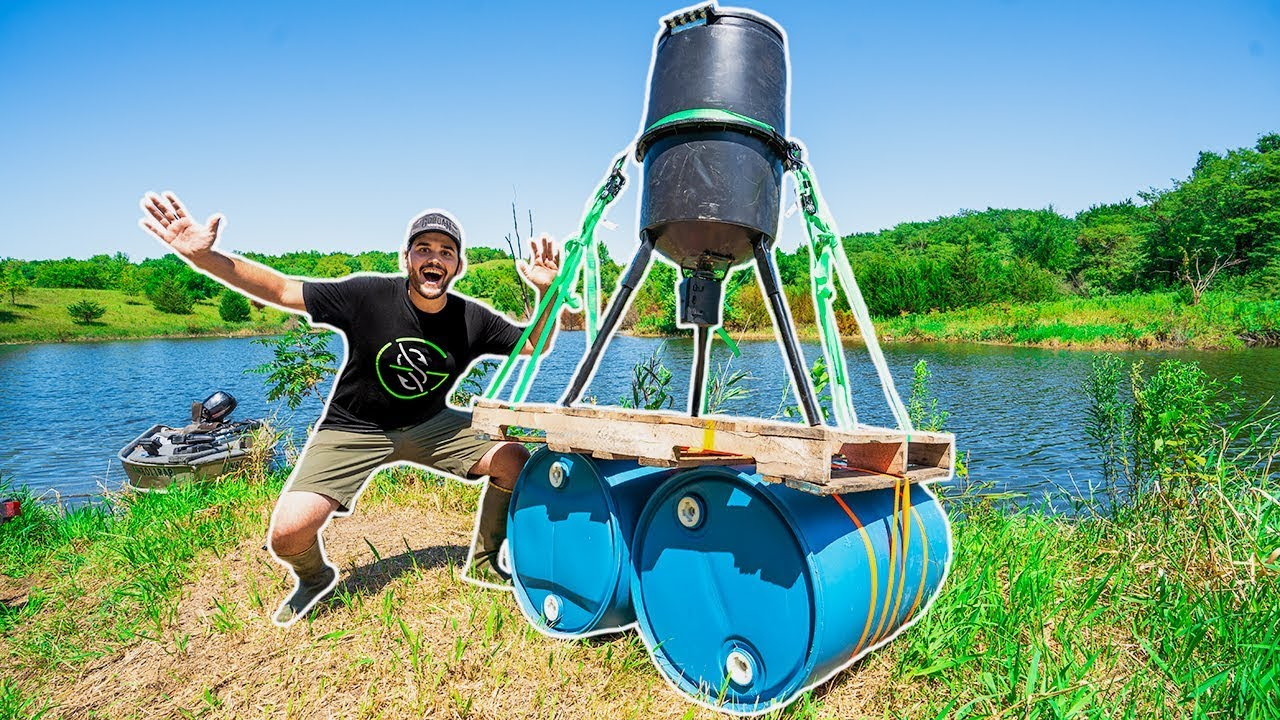 Building a HOMEMADE Floating FISH FEEDER for My POND!!! (DIY)