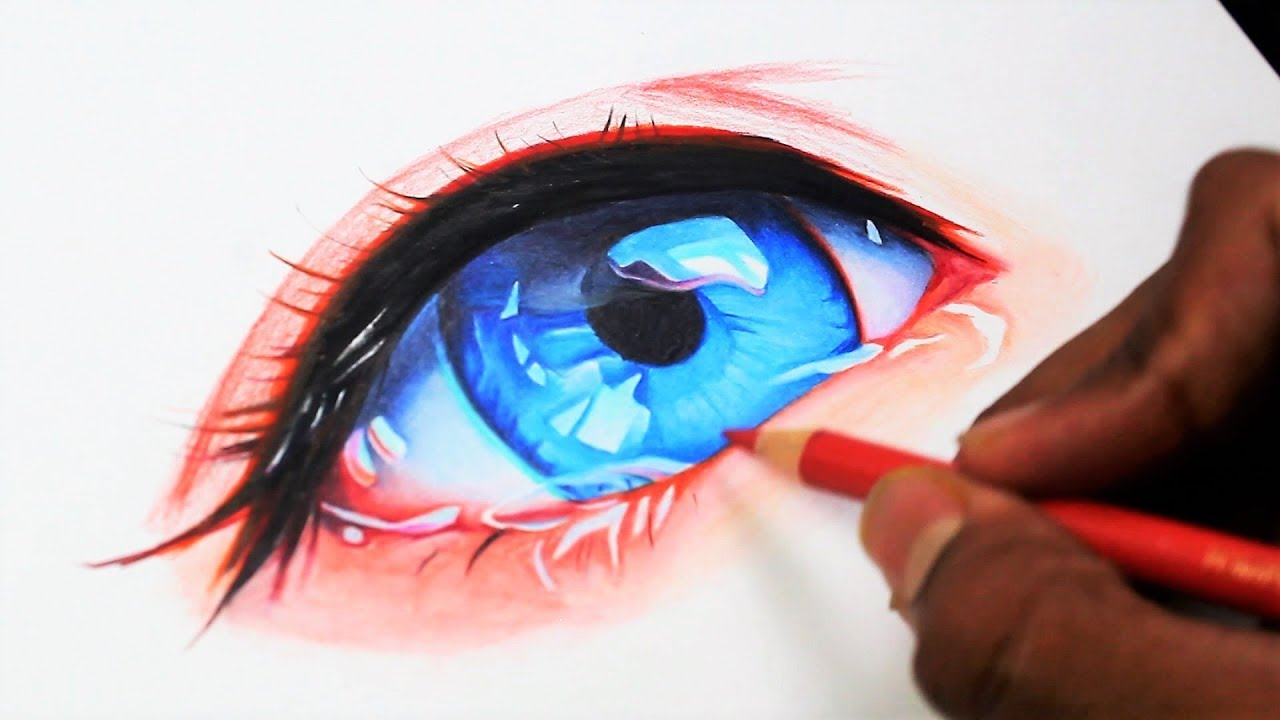DRAWING A Realistic ANIME Eye (Time Lapse)レム