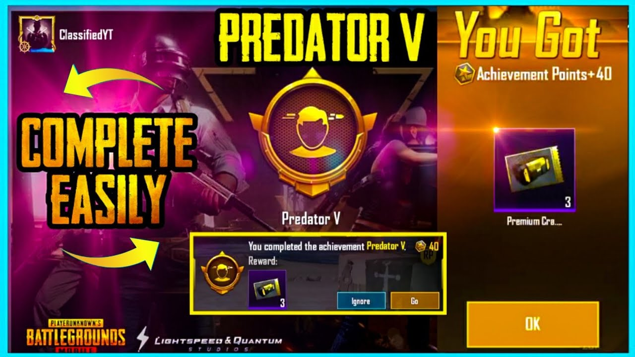 EASY WAY TO GET FREE 3 PREMIUM CRATE COUPONS - PREDATOR 5 ACHIEVEMENT IN PUBG MOBILE