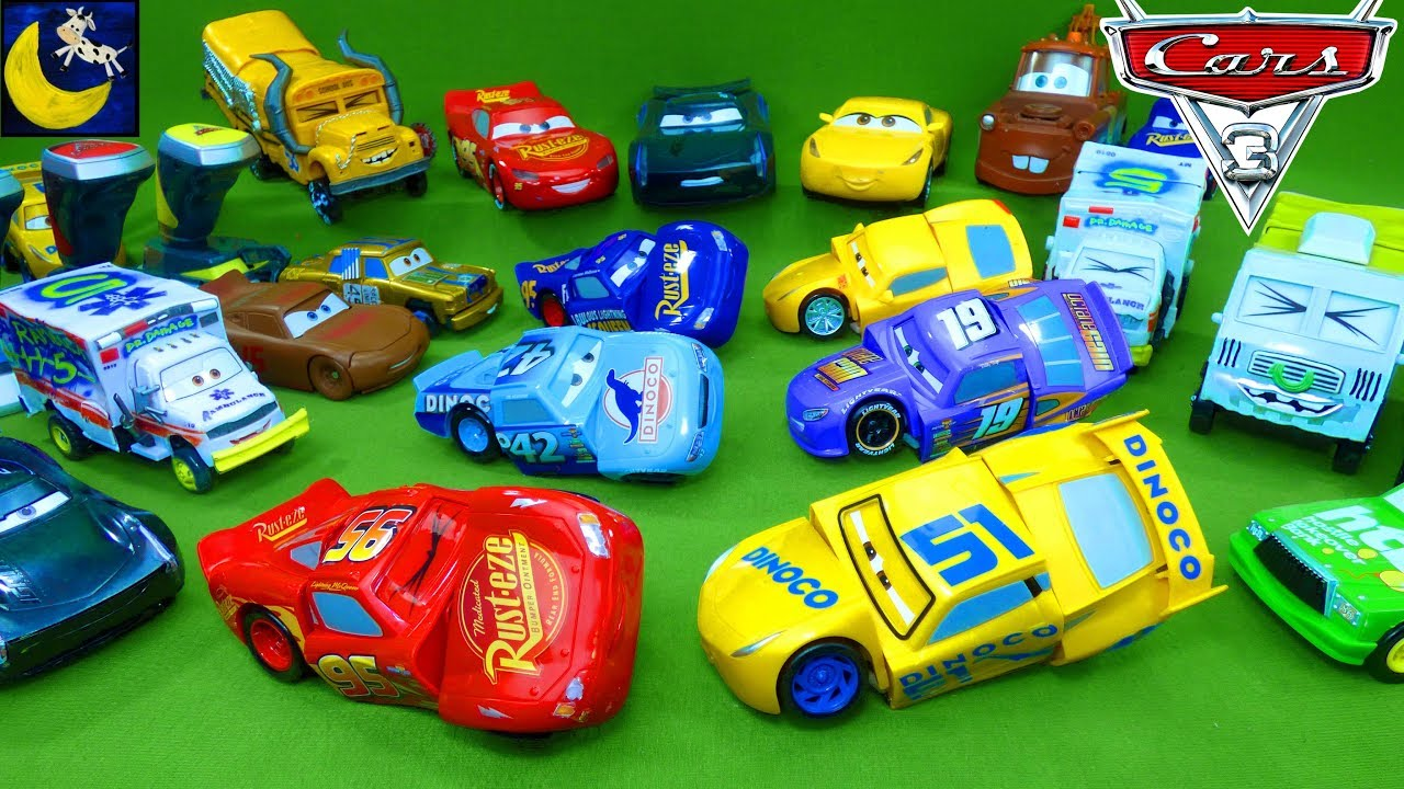Part 2 Disney Cars 3 Collection LOTS of Toys Race and Reck Crash Lightning Mcqueen Miss Fritter Toys