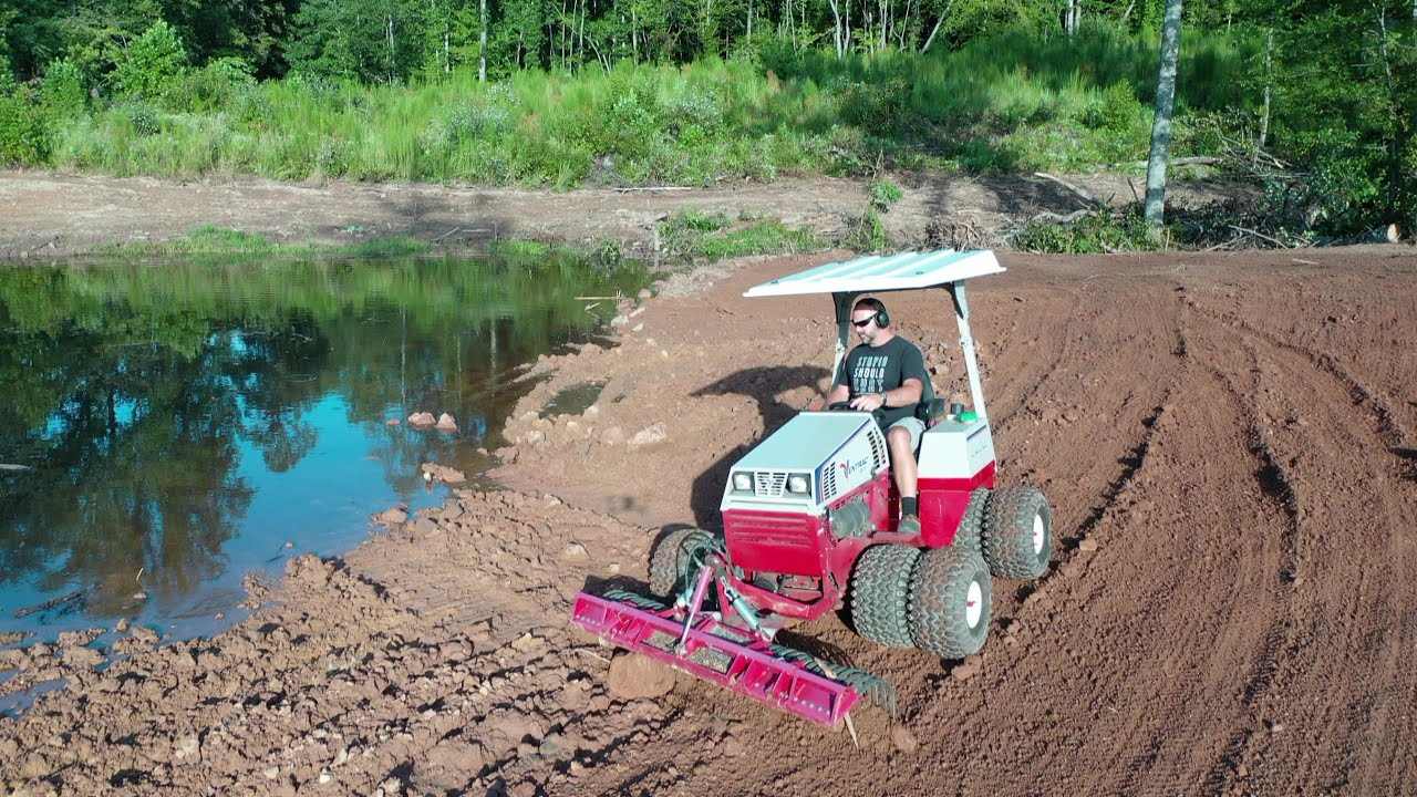 SWIMMING HOLE FARM POND BUILD VENTRAC MINI BULLDOZER! OVERFLOW SEEDING!